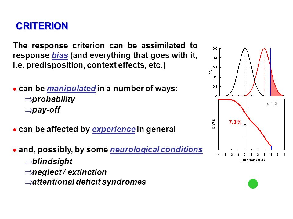 CRITERION The response criterion can be assimilated to response bias (and everything that goes with it, i.e. predisposition, context effects, etc.)