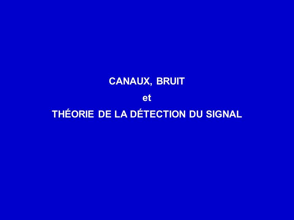 THÉORIE DE LA DÉTECTION DU SIGNAL