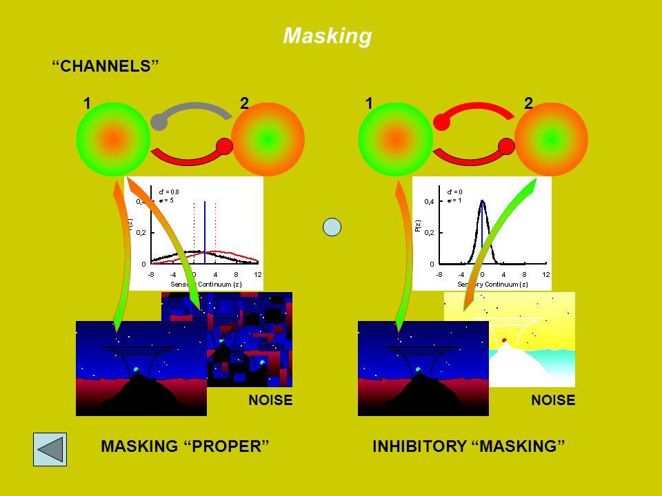Masking CHANNELS 1 2 1 2 INHIBITORY MASKING MASKING PROPER NOISE