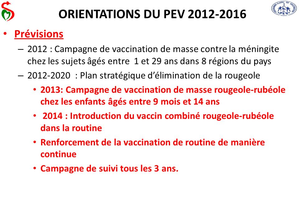 ORIENTATIONS DU PEV 2012-2016 Prévisions