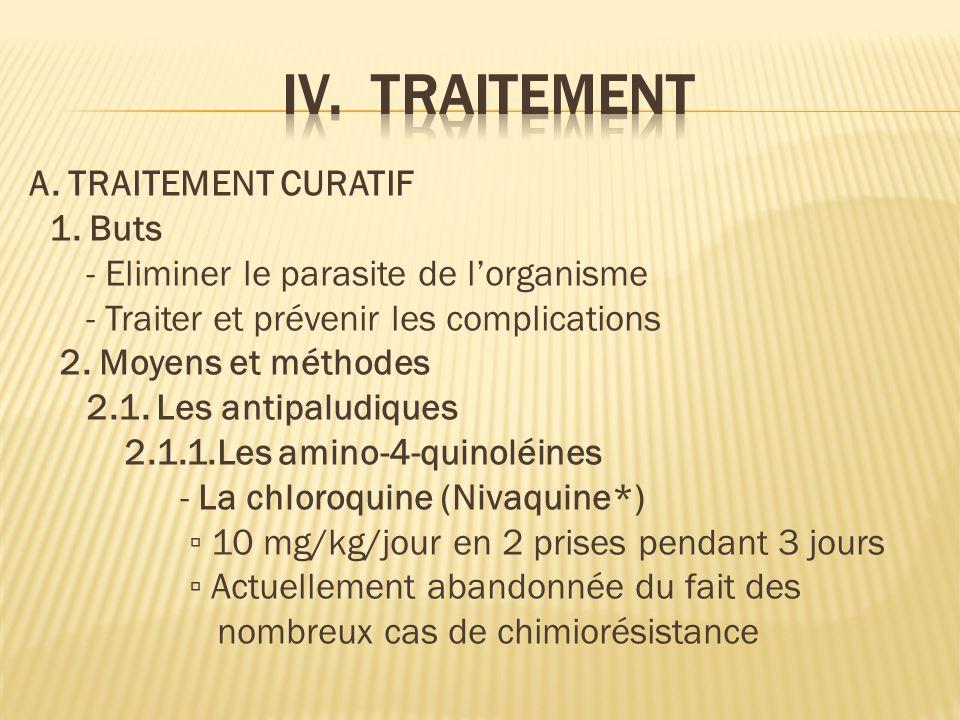 IV. TRAITEMENT 1. Buts - Eliminer le parasite de l'organisme