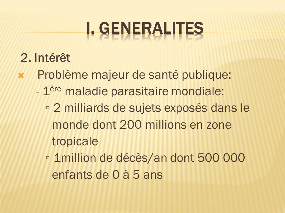 I. GENERALITES 2. Intérêt Problème majeur de santé publique: