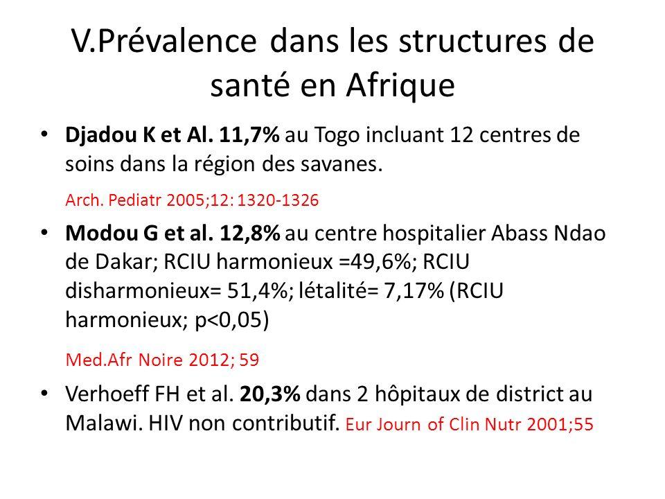 V.Prévalence dans les structures de santé en Afrique