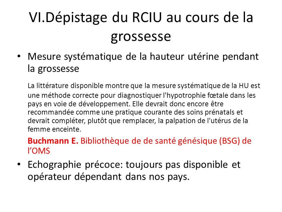 VI.Dépistage du RCIU au cours de la grossesse