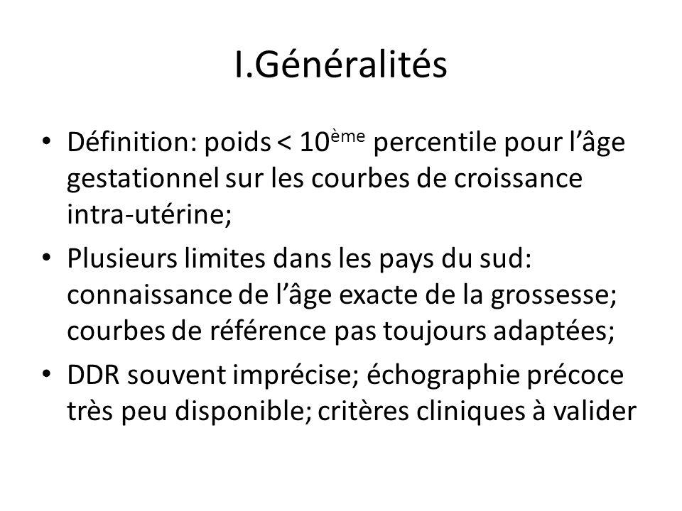 I.Généralités Définition: poids < 10ème percentile pour l'âge gestationnel sur les courbes de croissance intra-utérine;