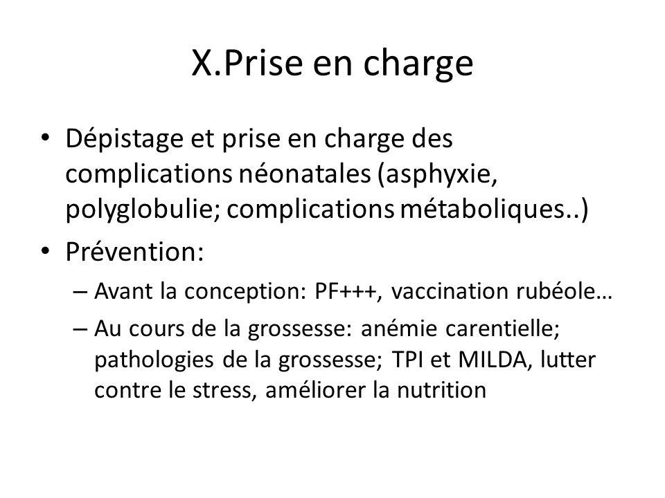 X.Prise en charge Dépistage et prise en charge des complications néonatales (asphyxie, polyglobulie; complications métaboliques..)