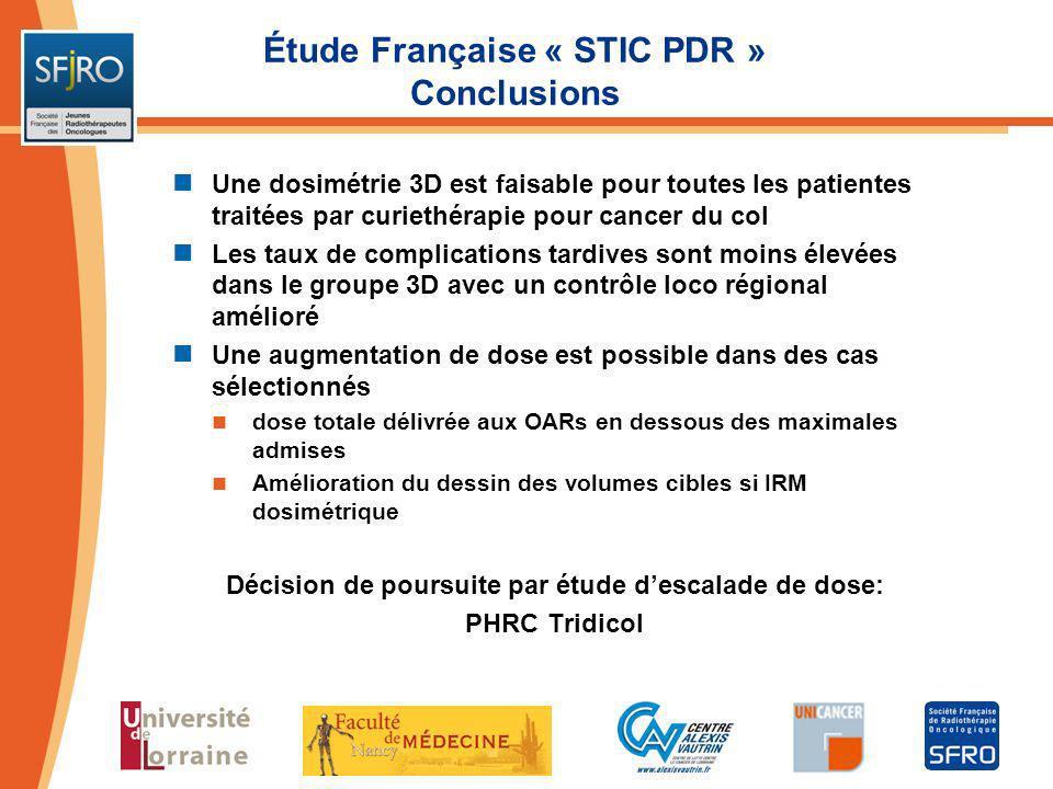 Étude Française « STIC PDR » Conclusions
