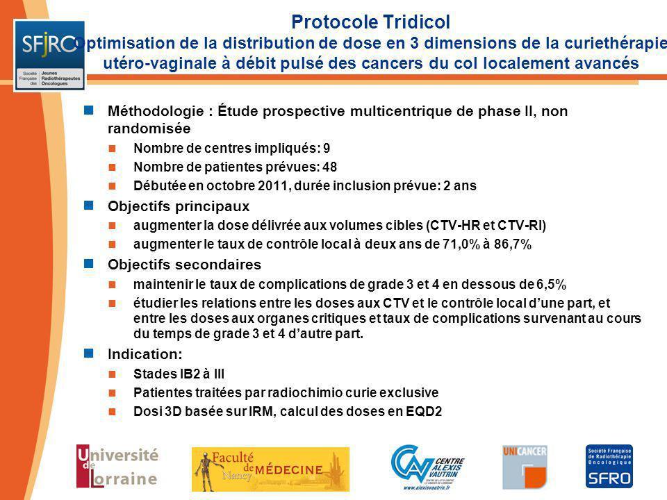 Protocole Tridicol Optimisation de la distribution de dose en 3 dimensions de la curiethérapie utéro-vaginale à débit pulsé des cancers du col localement avancés