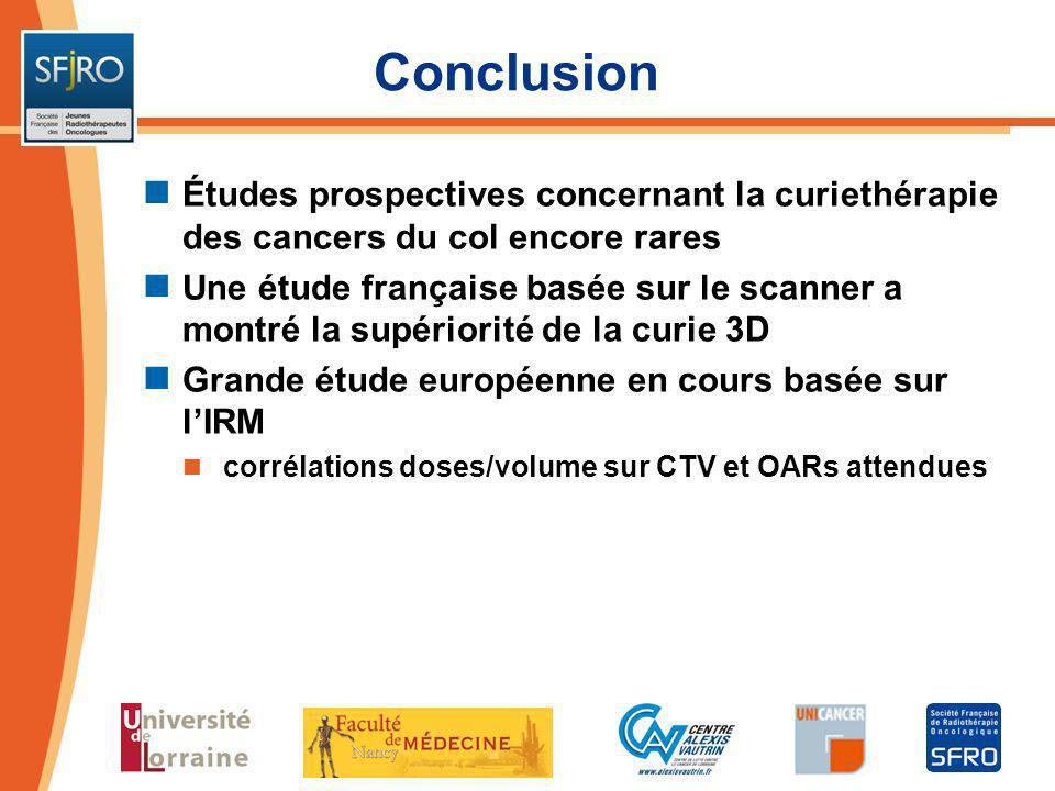 Conclusion Études prospectives concernant la curiethérapie des cancers du col encore rares.