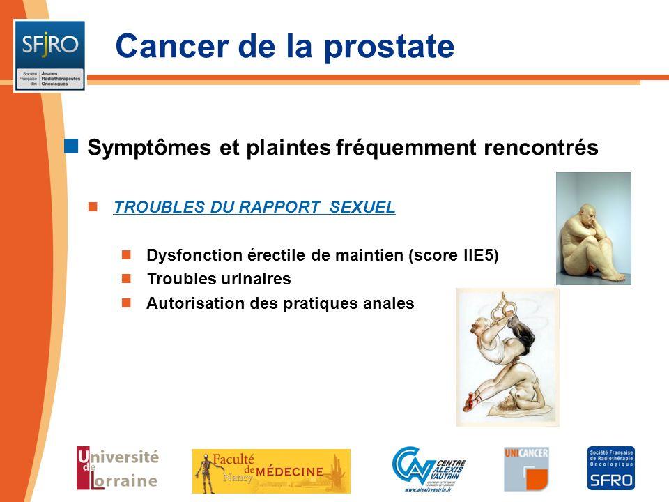 Cancer de la prostate Symptômes et plaintes fréquemment rencontrés