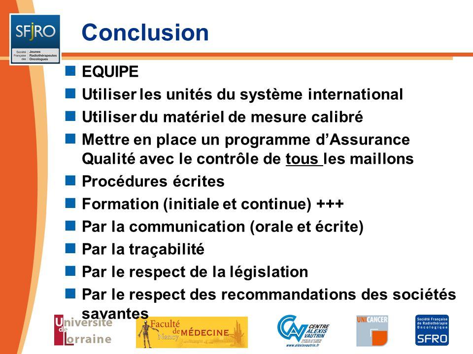 Conclusion EQUIPE Utiliser les unités du système international