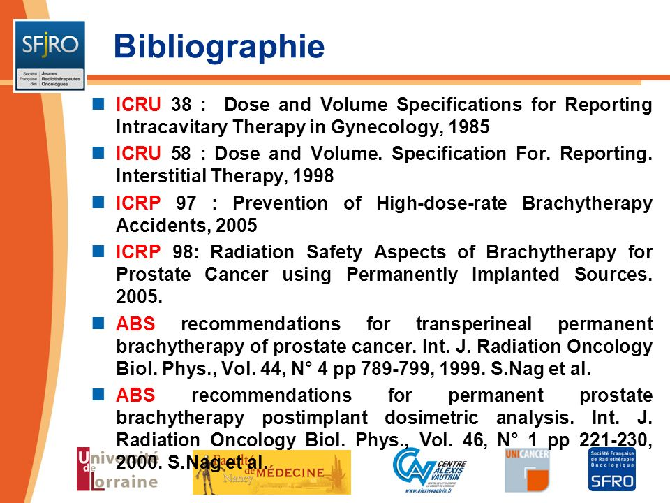 BibliographieICRU 38 : Dose and Volume Specifications for Reporting Intracavitary Therapy in Gynecology, 1985.