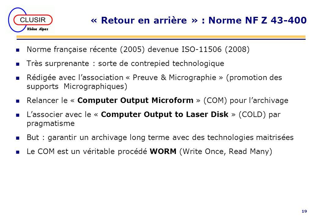 « Retour en arrière » : Norme NF Z 43-400