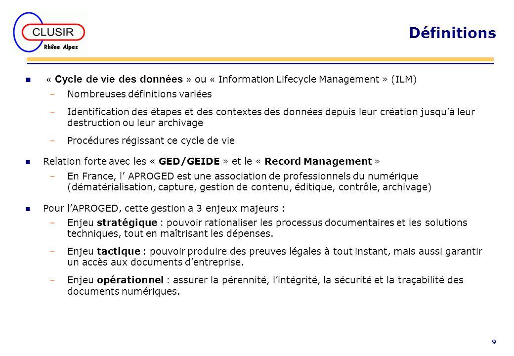 Définitions « Cycle de vie des données » ou « Information Lifecycle Management » (ILM) Nombreuses définitions variées.