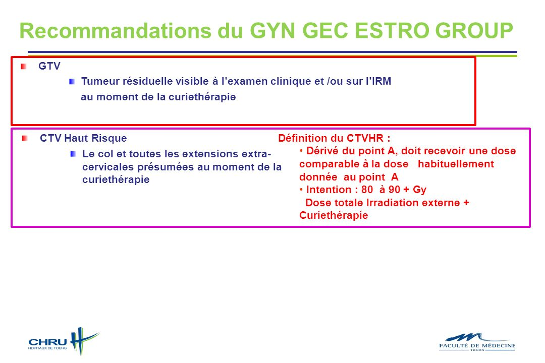Recommandations du GYN GEC ESTRO GROUP