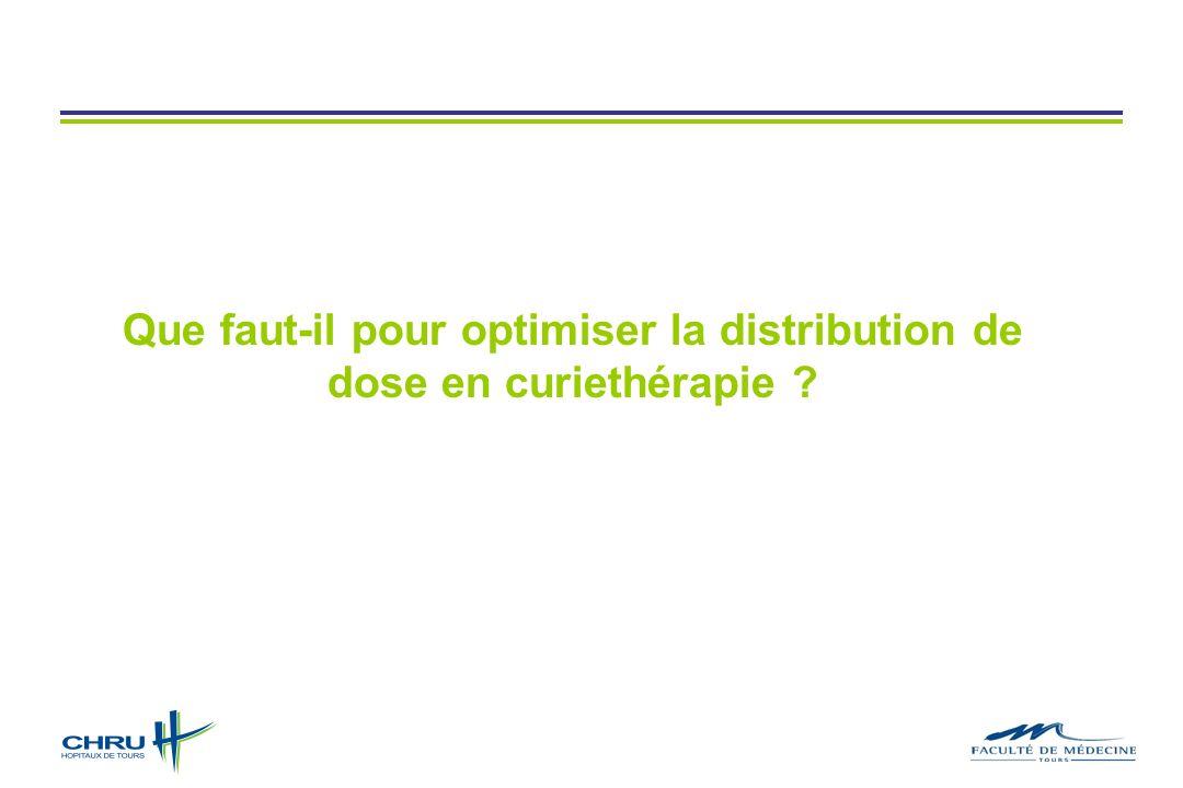 Que faut-il pour optimiser la distribution de dose en curiethérapie
