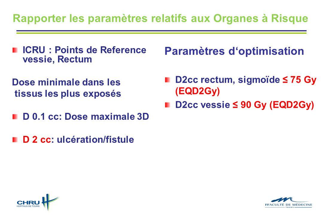 Rapporter les paramètres relatifs aux Organes à Risque