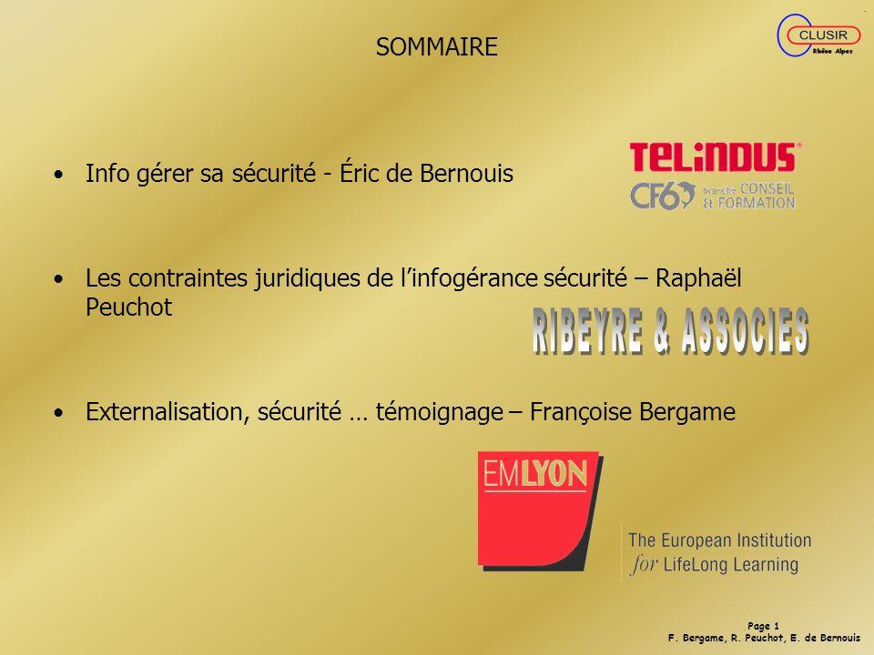 RIBEYRE & ASSOCIES SOMMAIRE Info gérer sa sécurité - Éric de Bernouis