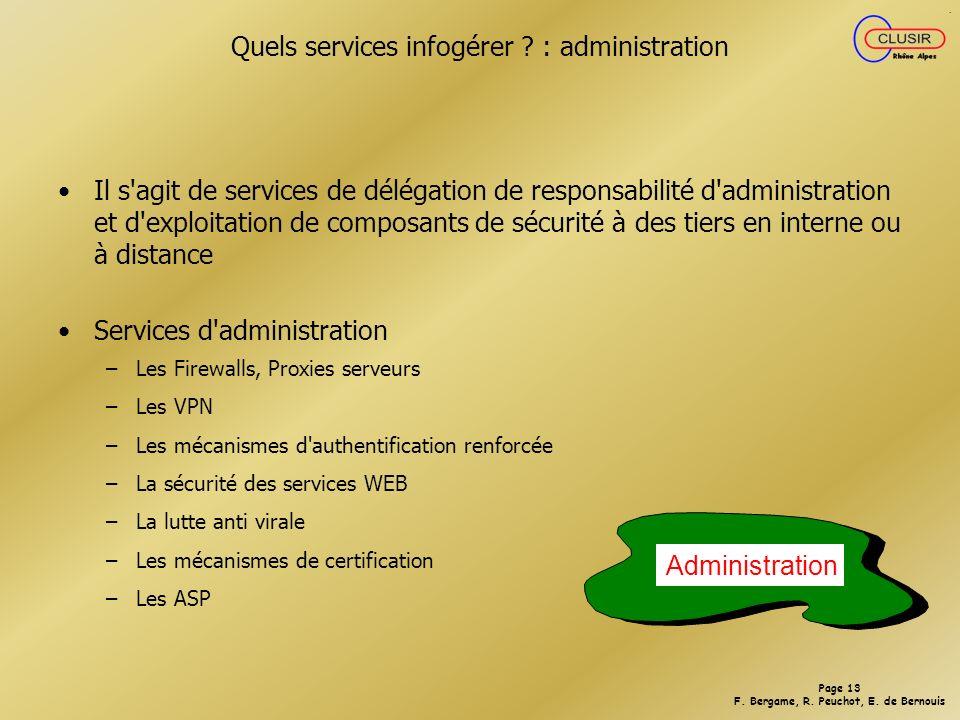 Quels services infogérer : administration