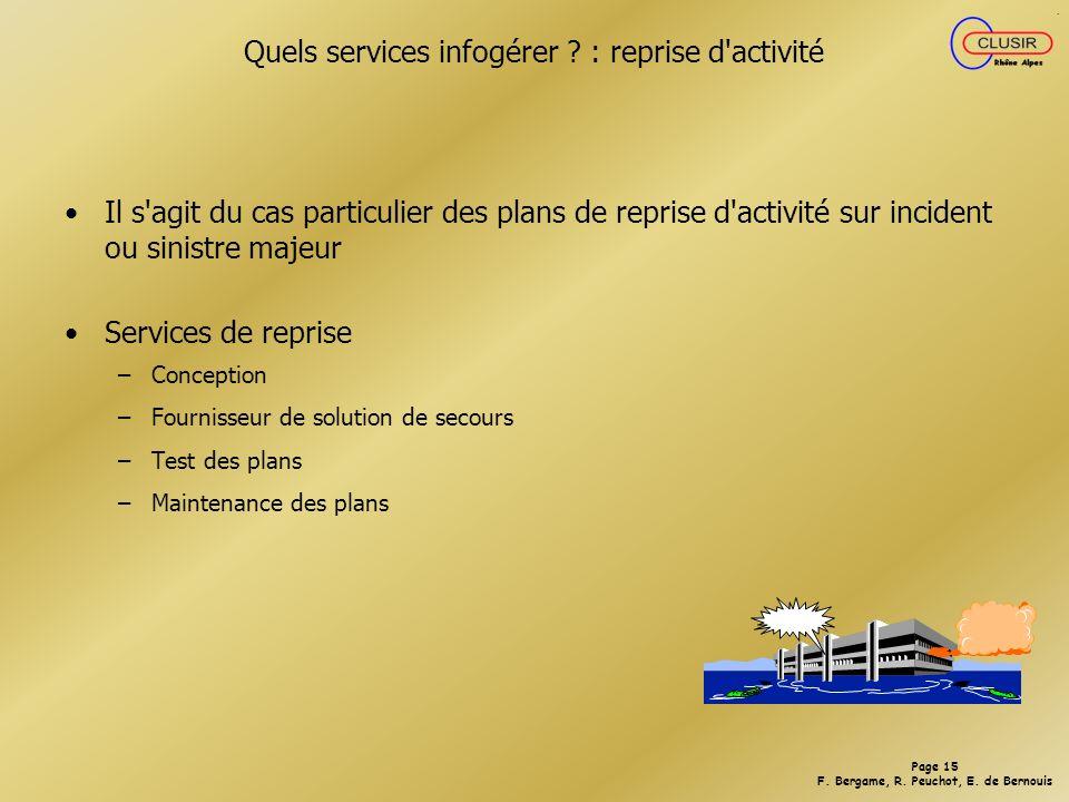 Quels services infogérer : reprise d activité