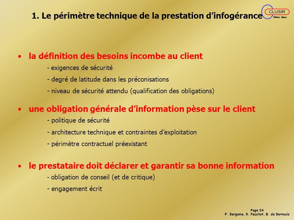 1. Le périmètre technique de la prestation d'infogérance