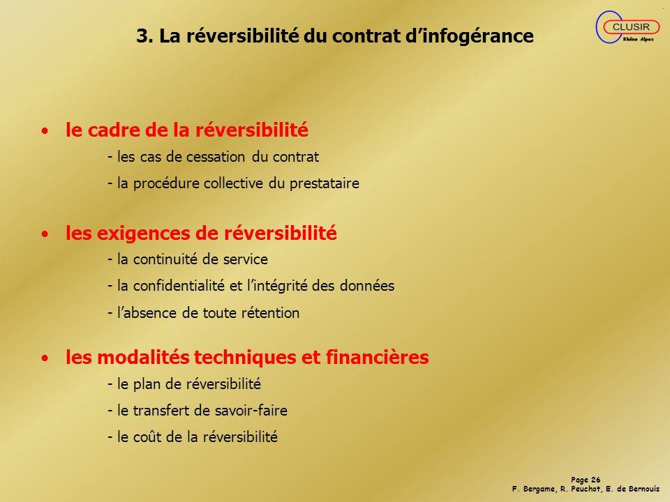 3. La réversibilité du contrat d'infogérance