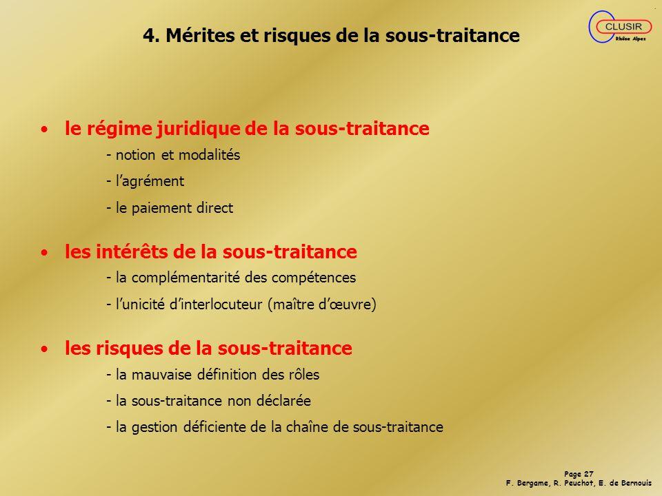 4. Mérites et risques de la sous-traitance