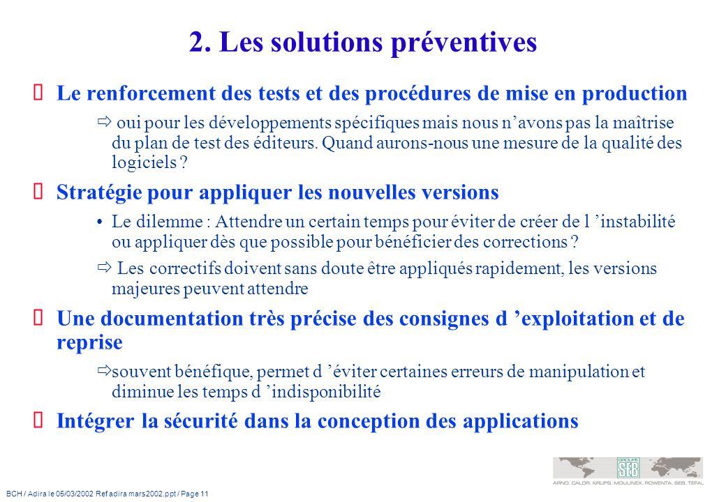 2. Les solutions préventives