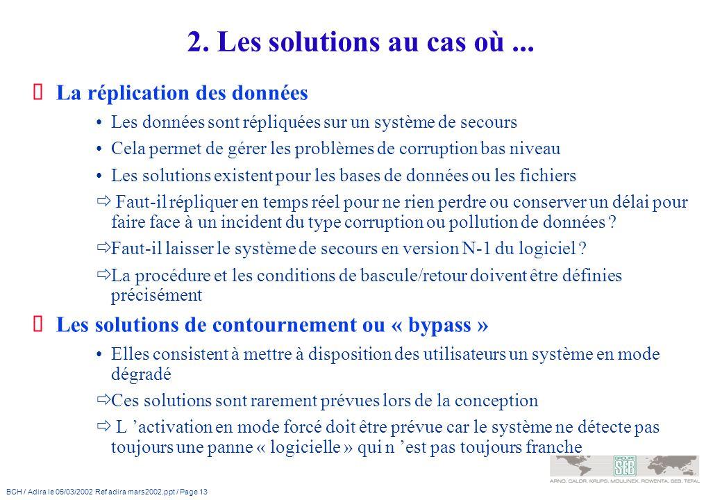 2. Les solutions au cas où ... La réplication des données