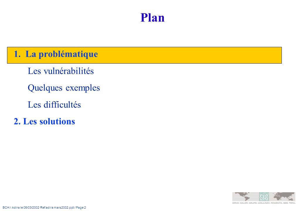 Plan 1. La problématique Les vulnérabilités Quelques exemples