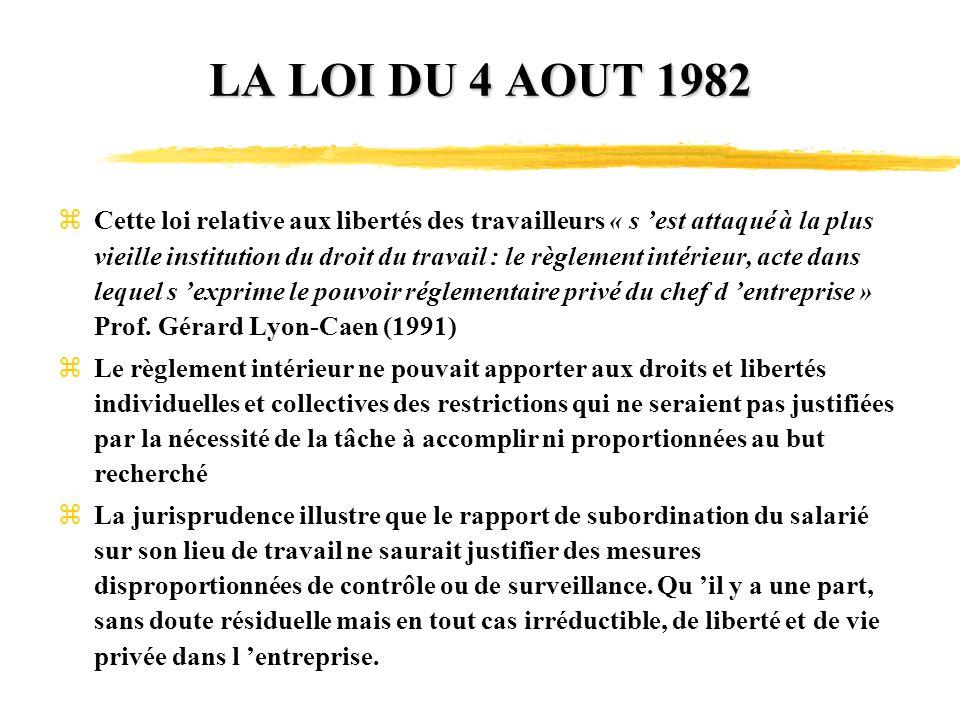 LA LOI DU 4 AOUT 1982