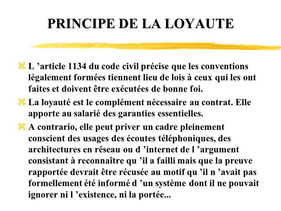 PRINCIPE DE LA LOYAUTE