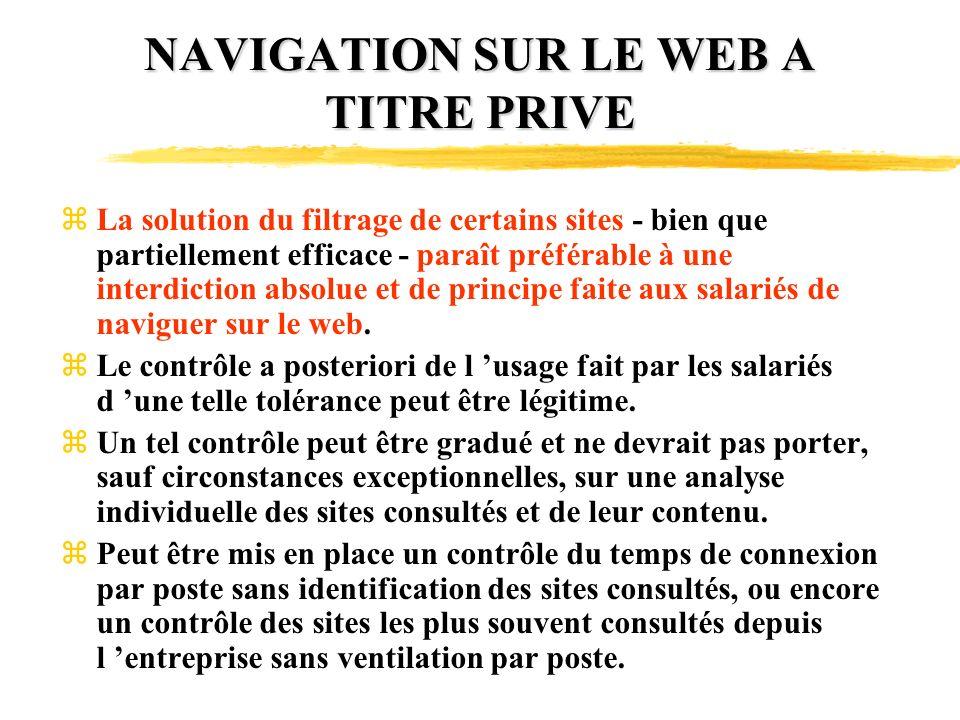NAVIGATION SUR LE WEB A TITRE PRIVE