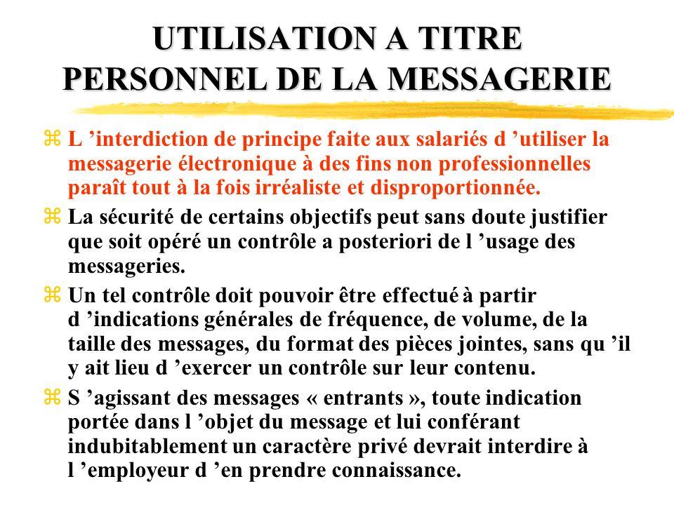 UTILISATION A TITRE PERSONNEL DE LA MESSAGERIE