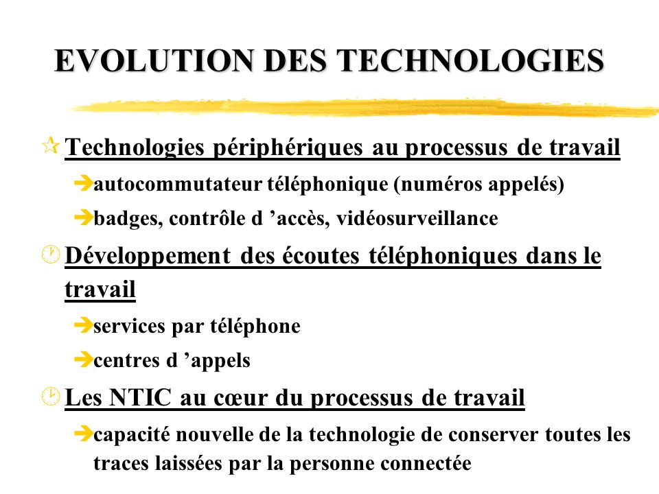 EVOLUTION DES TECHNOLOGIES