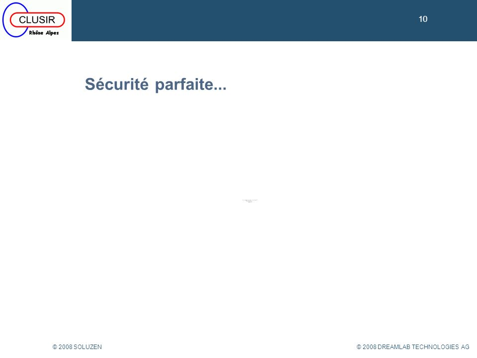 10 Sécurité parfaite... © 2008 SOLUZEN © 2008 DREAMLAB TECHNOLOGIES AG