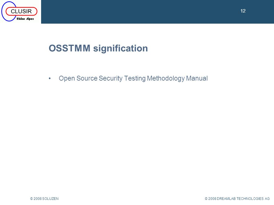 OSSTMM signification Open Source Security Testing Methodology Manual