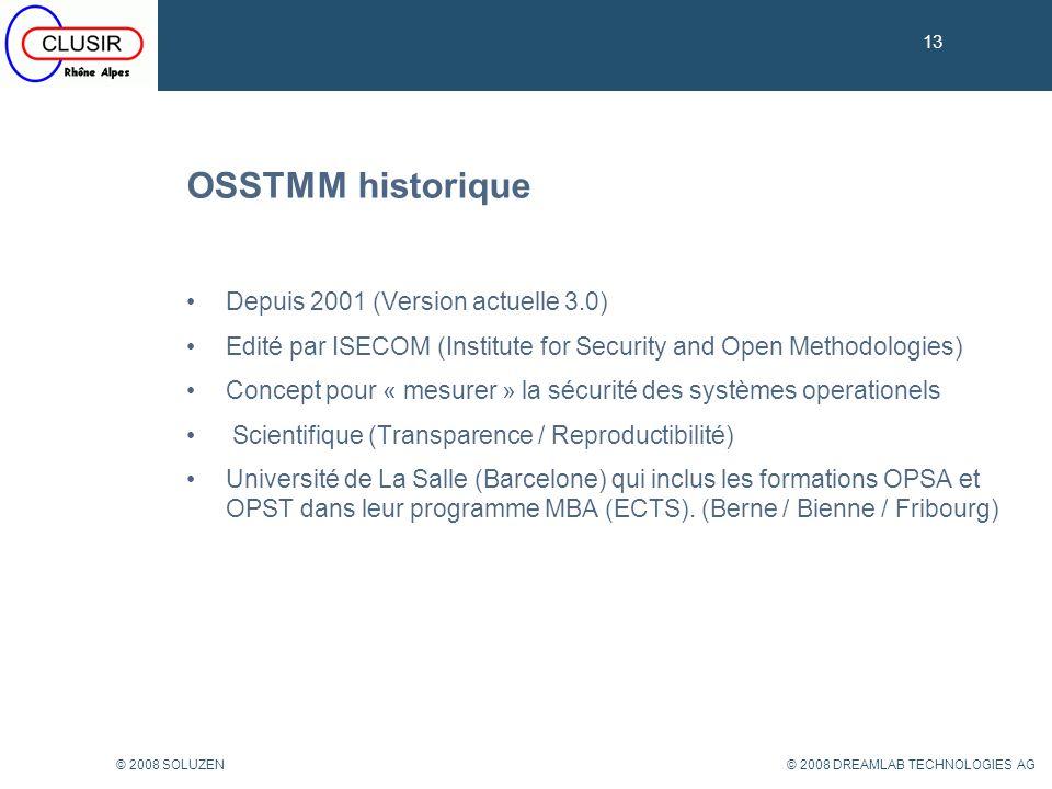 OSSTMM historique Depuis 2001 (Version actuelle 3.0)