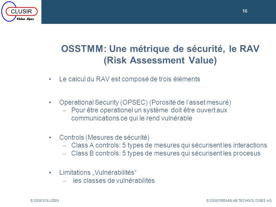 OSSTMM: Une métrique de sécurité, le RAV (Risk Assessment Value)