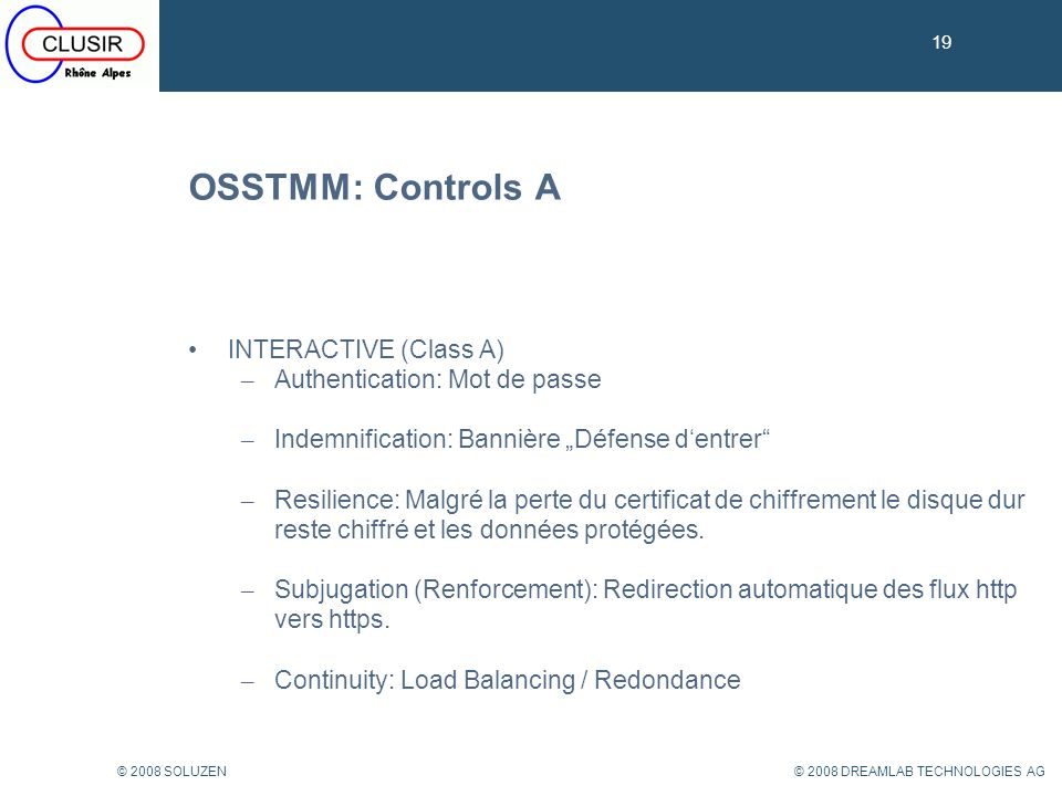OSSTMM: Controls A INTERACTIVE (Class A) Authentication: Mot de passe