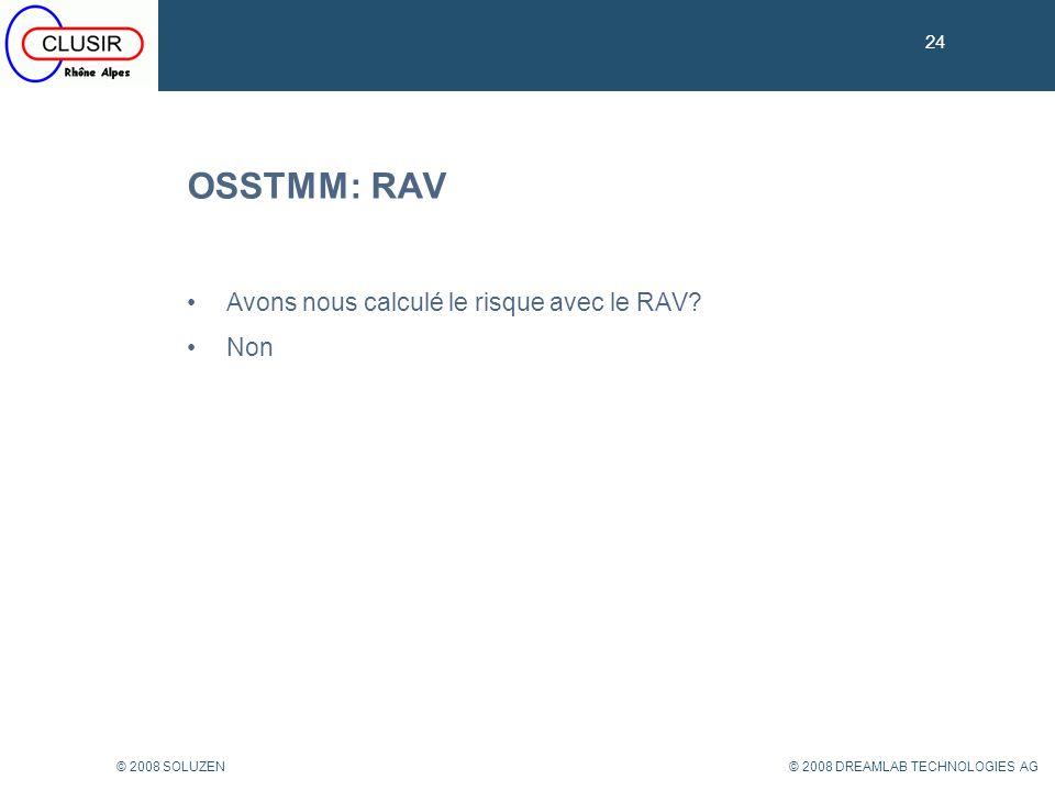 OSSTMM: RAV Avons nous calculé le risque avec le RAV Non 24