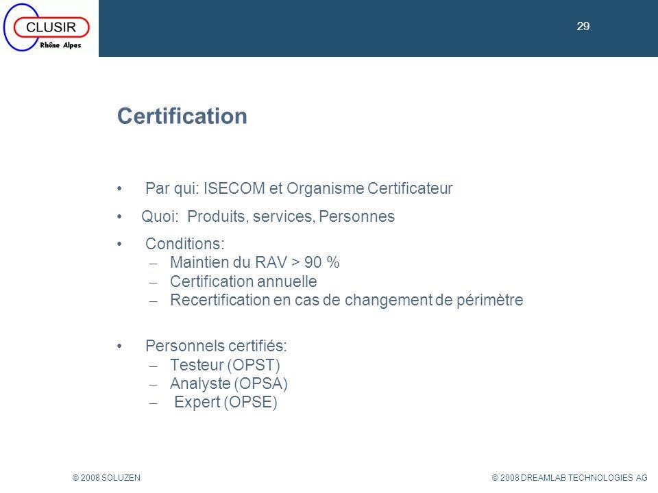 Certification Par qui: ISECOM et Organisme Certificateur