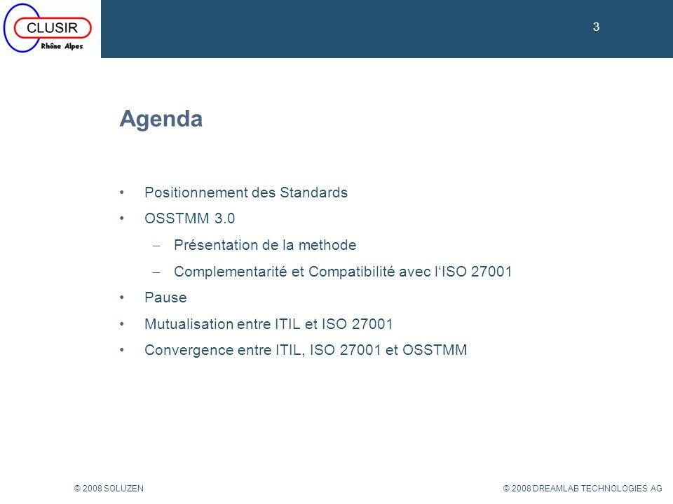 Agenda Positionnement des Standards OSSTMM 3.0