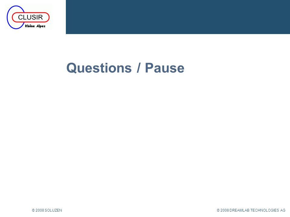 Questions / Pause © 2008 SOLUZEN © 2008 DREAMLAB TECHNOLOGIES AG