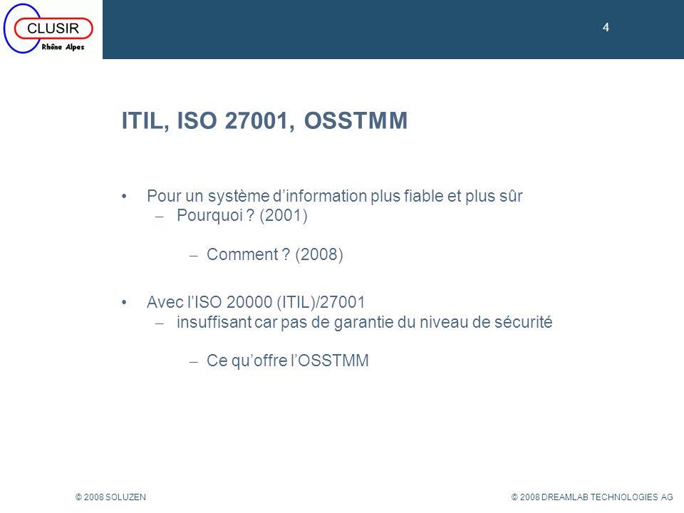 4 ITIL, ISO 27001, OSSTMM. Pour un système d'information plus fiable et plus sûr. Pourquoi (2001)
