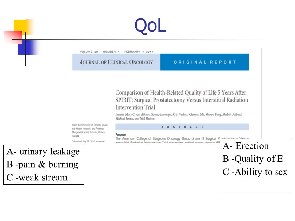 QoL A- Erection A- urinary leakage B -Quality of E B -pain & burning