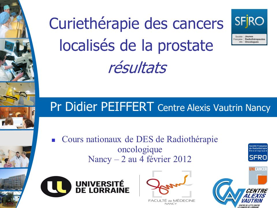 Curiethérapie des cancers localisés de la prostate résultats