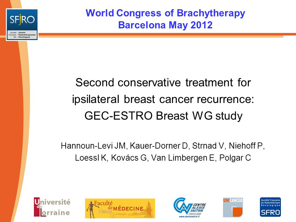 World Congress of Brachytherapy Barcelona May 2012