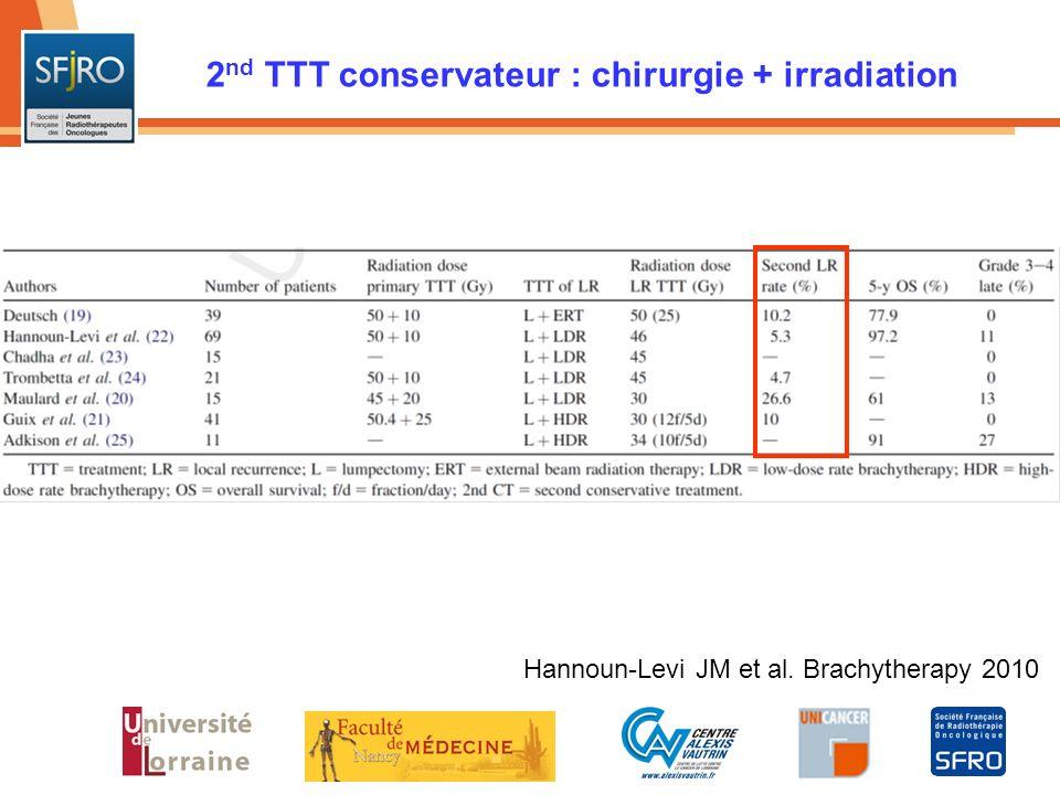 2nd TTT conservateur : chirurgie + irradiation