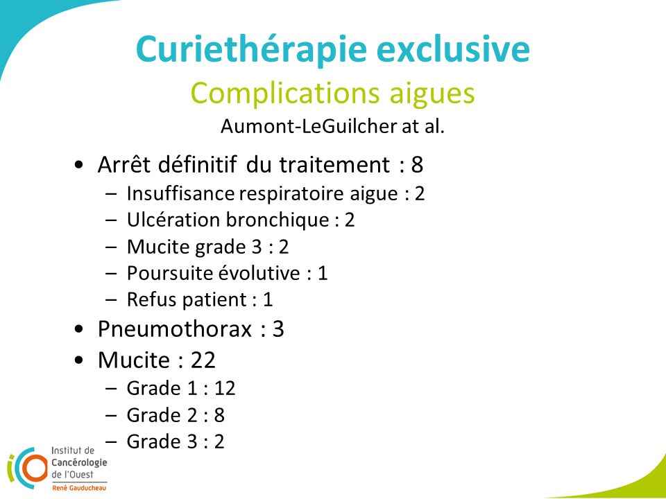 Curiethérapie exclusive Complications aigues Aumont-LeGuilcher at al.